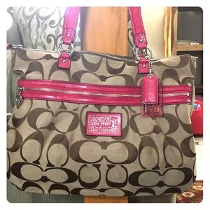 💕 Coach poppy brown pink jacquard large satchel